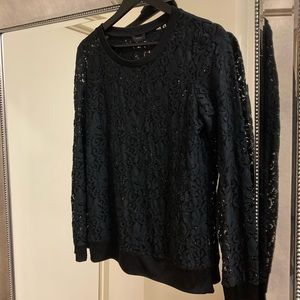 Theory Lace Long Sleeve Top